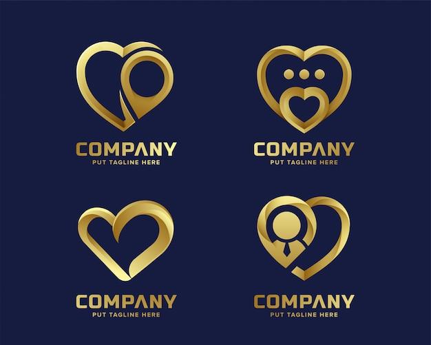 Goldene logosammlung der kreativen herzliebe Premium Vektoren
