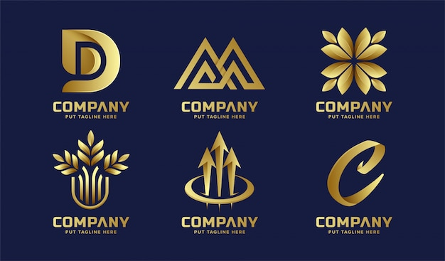 Goldene logosammlung des abstrakten geschäfts Premium Vektoren