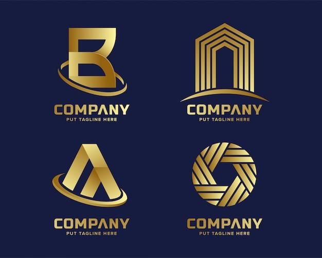 Goldene logoschablone des modernen geschäfts Premium Vektoren