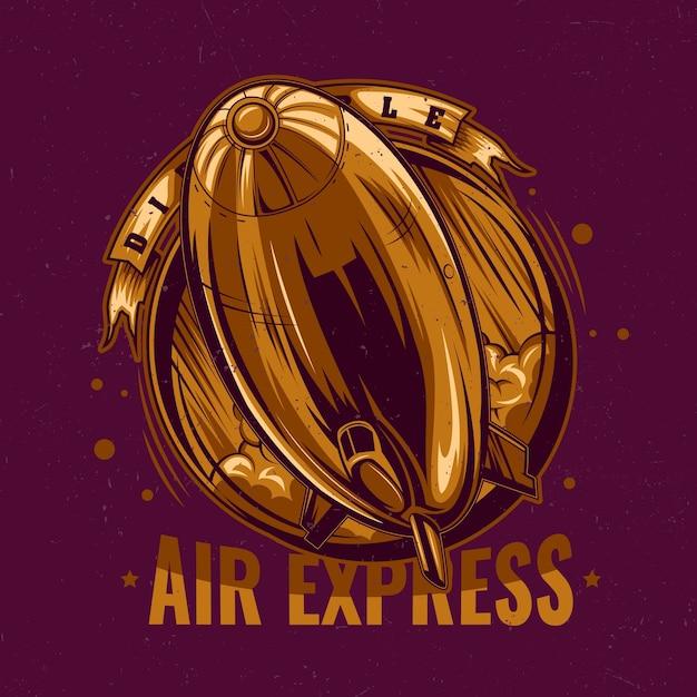 Goldene luft express illustration Kostenlosen Vektoren