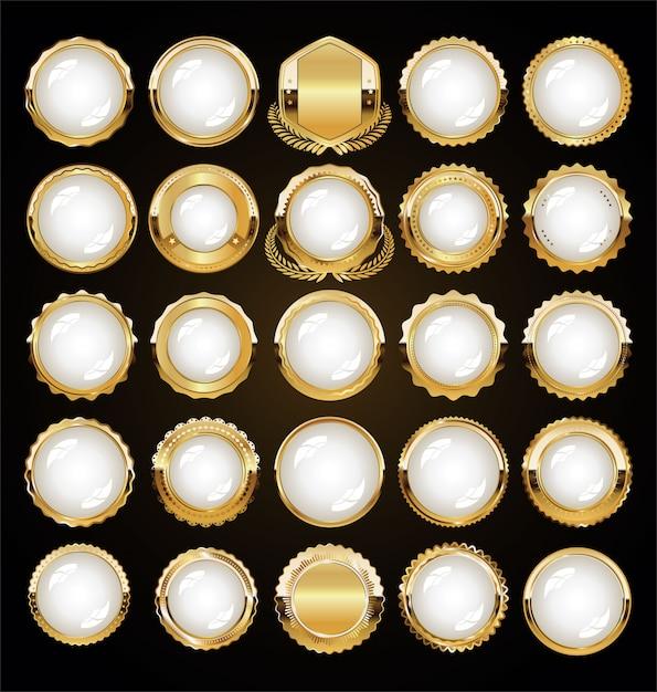 Goldene luxusabzeichen und -etiketten Premium Vektoren
