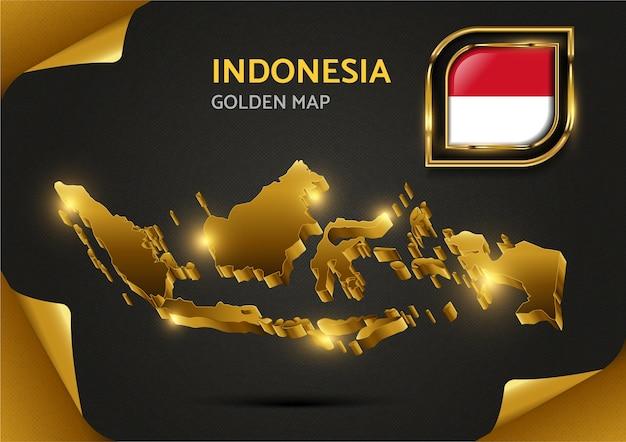 Goldene luxuskarte indonesien Premium Vektoren