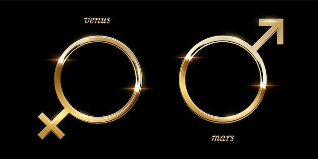 Goldene männliche und weibliche symbole, luxus funkelnde runde rahmen isoliert Premium Vektoren