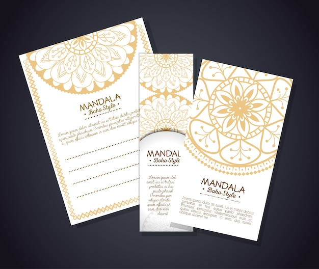 Goldene mandala boho-artflieger Premium Vektoren