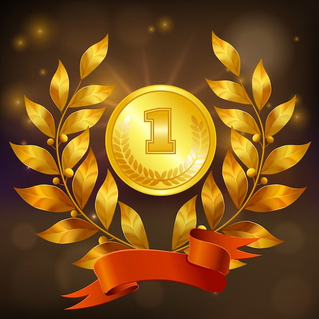 Goldene medaille mit lorbeerkranz und realistischer zusammensetzung des roten bandes Kostenlosen Vektoren