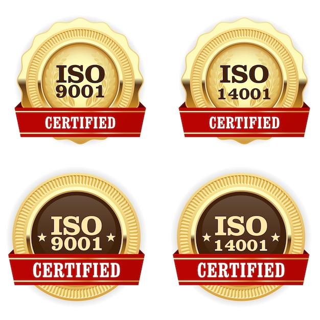 Goldene medaillen iso 9001 zertifiziert - qualitätsstandardabzeichen Premium Vektoren