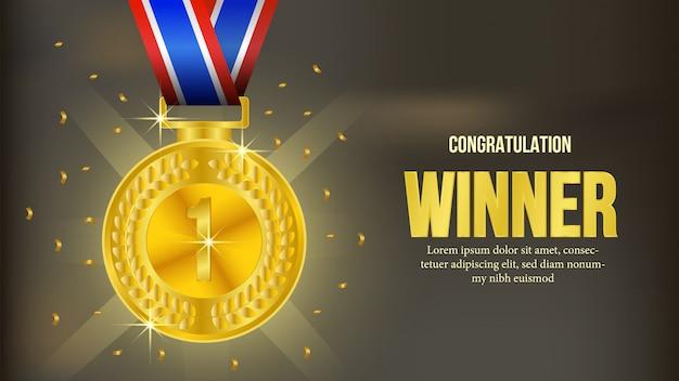 Goldene medaillengewinner-mitteilungsfahne Premium Vektoren