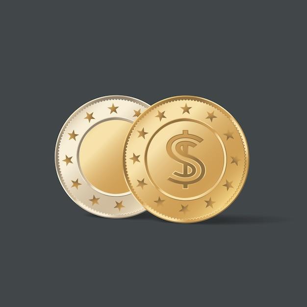 Goldene metallmünzenillustration Premium Vektoren