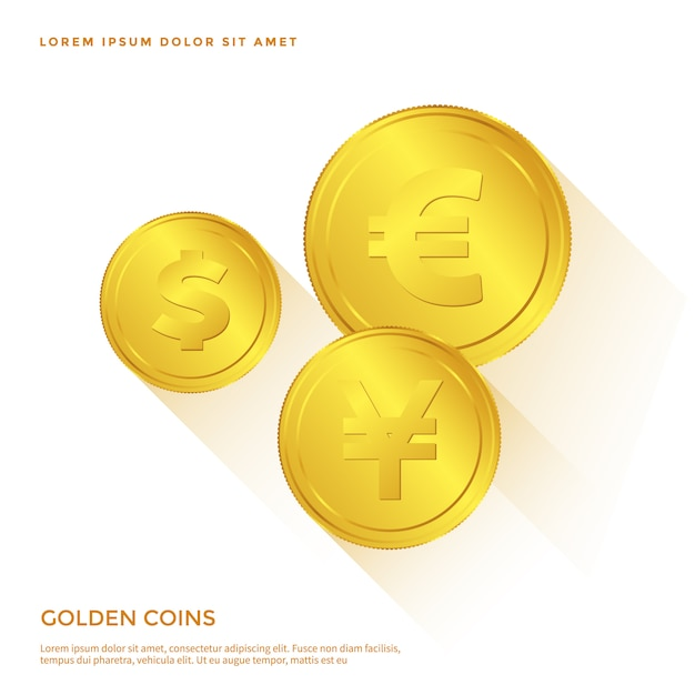 Goldene münze objekt Premium Vektoren