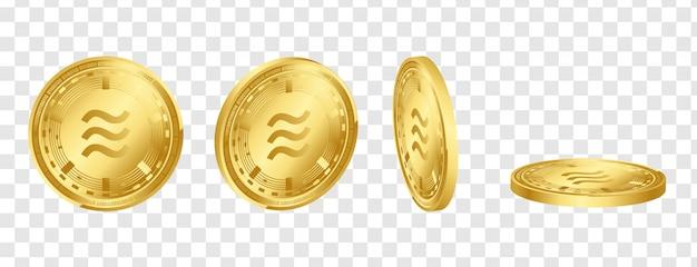 Goldene münzen der digitalen kryptowährung 3d der waage eingestellt Premium Vektoren