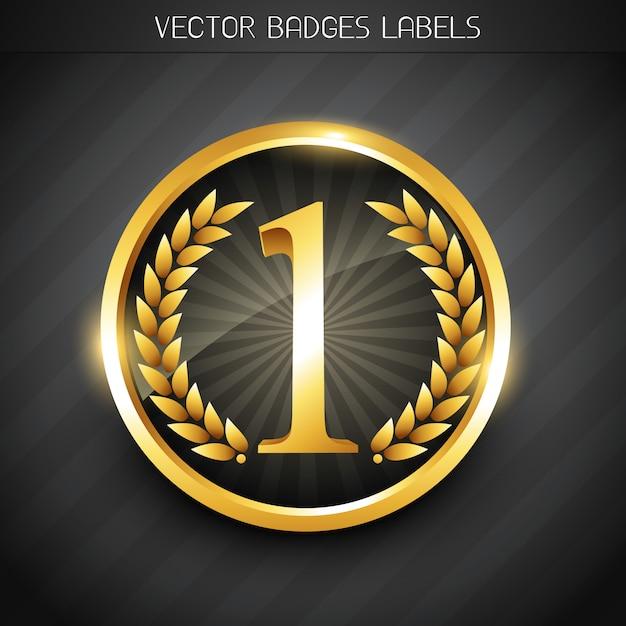 Goldene nummer eins etikett Premium Vektoren