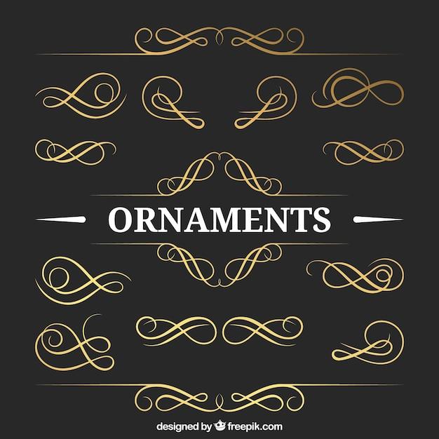 Goldene Ornamente Packen Download Der Kostenlosen Vektor