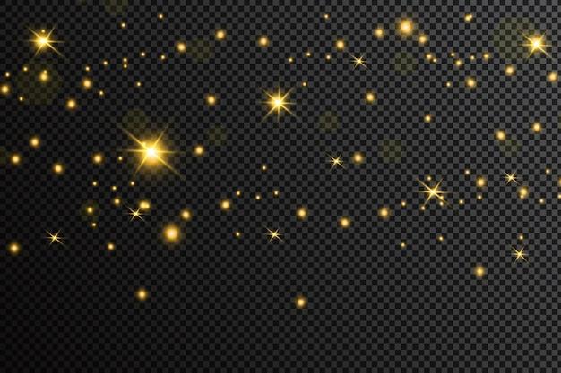 Goldene partikel. glühender gelber bokeh kreist abstrakten goldenen luxushintergrund ein Premium Vektoren