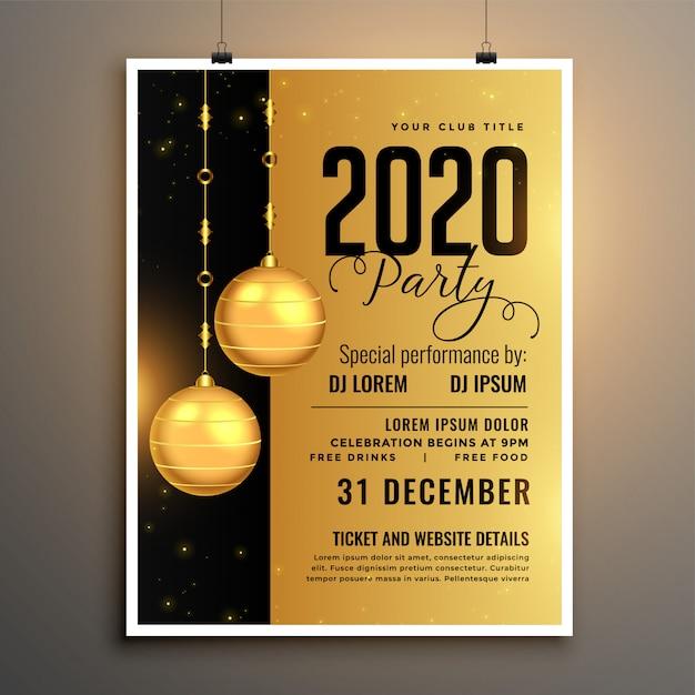 Goldene partyfliegerschablone des neuen jahres 2020 Kostenlosen Vektoren