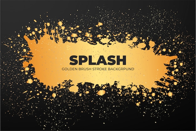 Goldene pinselstrich-banner-vorlage Kostenlosen Vektoren