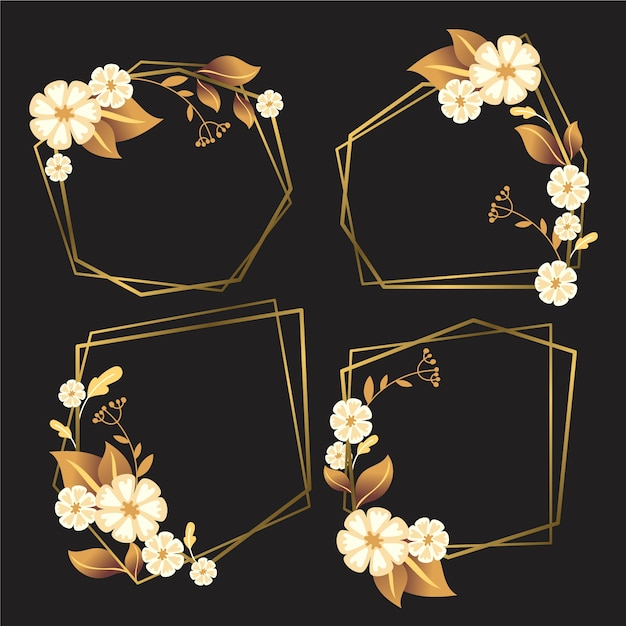 Goldene polygonale felder mit eleganten blumen Kostenlosen Vektoren