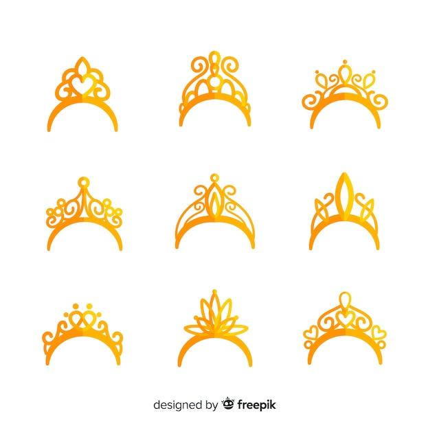 Goldene prinzessin tiara kollektion Kostenlosen Vektoren