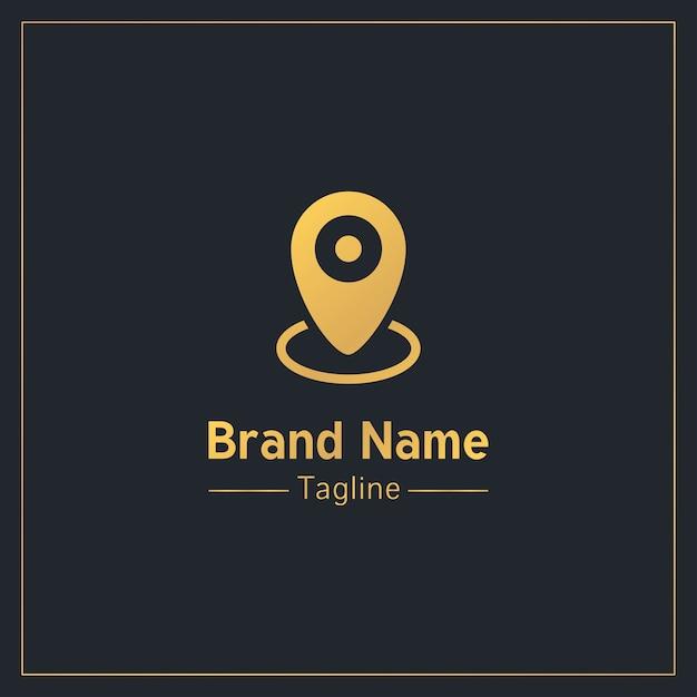 Goldene professionelle logo-vorlage der standortnadel Premium Vektoren