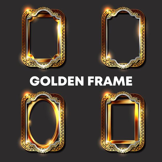 Goldene rahmen und grenzen der dekorativen weinlese Premium Vektoren