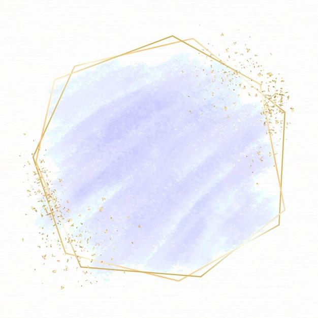 Goldene rahmenschablone mit pastellaquarell Kostenlosen Vektoren