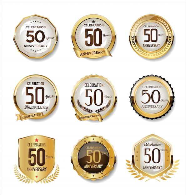 Goldene retro- ausweissammlung des jahrestages Premium Vektoren