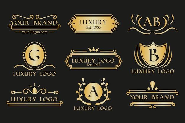 Goldene retro- logosammlung des restaurantkaffees Kostenlosen Vektoren