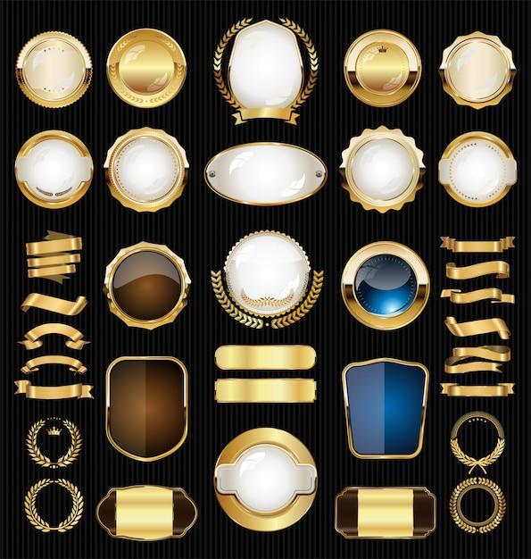 Goldene retro- verkaufsausweise und aufklebersammlung Premium Vektoren