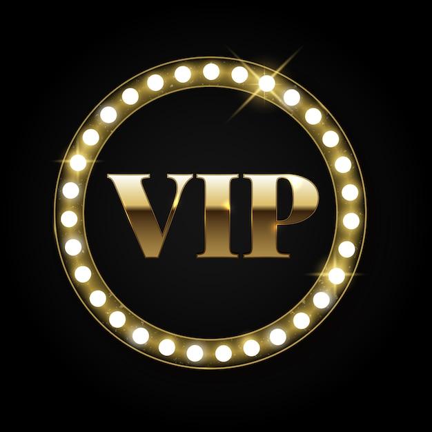 Goldene retro- vip-insignien oder -emblem mit lichtern Premium Vektoren