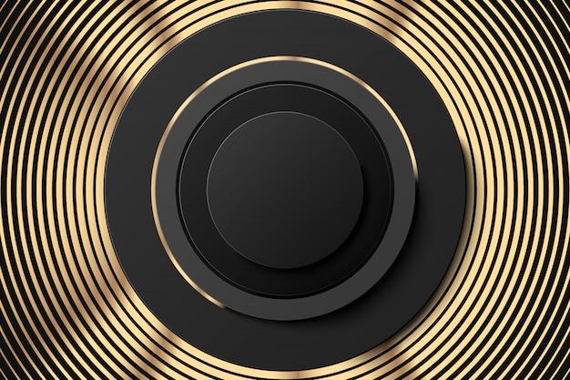 Goldene ringe und schwarze tastenfahne. goldabstrakter hintergrund mit getretenen geometrischen formen der ringe Premium Vektoren
