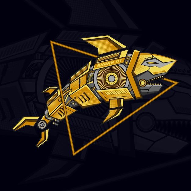Goldene roboterhai steampunk illustration Premium Vektoren