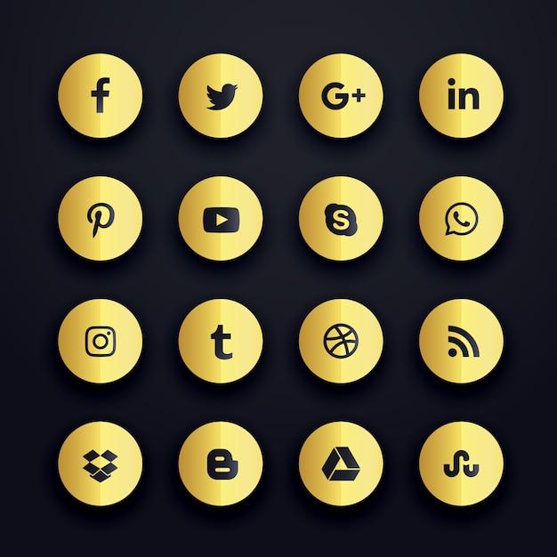 Goldene runde Social Media Icons Premium Pack Kostenlose Vektoren