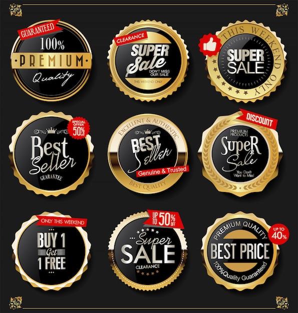Goldene schilde lorbeerkränze und abzeichen sammlung Premium Vektoren
