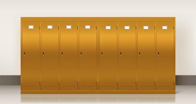 Goldene schließfächer, umkleidekabine für schule oder fitnessraum Kostenlosen Vektoren