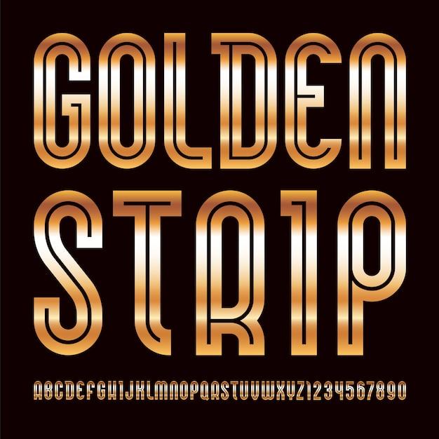 Goldene schrift. trendiges alphabet Premium Vektoren