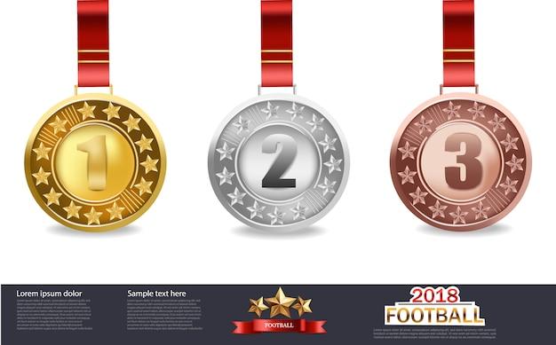 Goldene silber- und bronzemedaillen Premium Vektoren