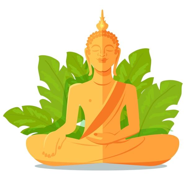 Goldene statue buddhas vor grünen großen blättern Premium Vektoren