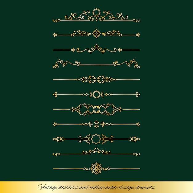 Goldene teiler der weinlese und seitendekorationssatz Premium Vektoren