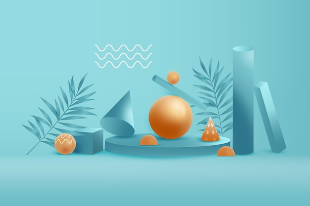 Goldene und blaue 3d geometrische formen hintergrund Premium Vektoren