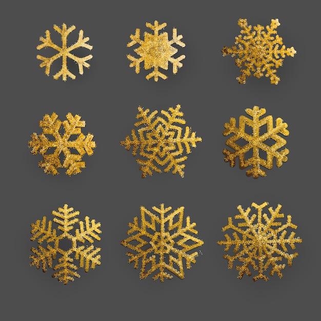 Goldene und funkelnschneeflocken weihnachtsverzierung stellte auf hintergrund ein Premium Vektoren