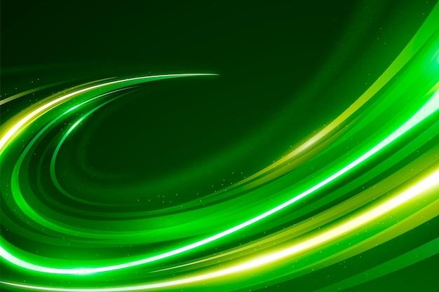 Goldene und grüne geschwindigkeit neonlichter hintergrund Kostenlosen Vektoren