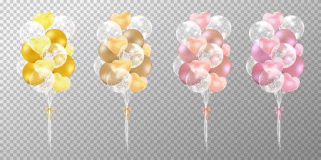 Goldene und roségoldballone auf transparentem hintergrund. Kostenlosen Vektoren