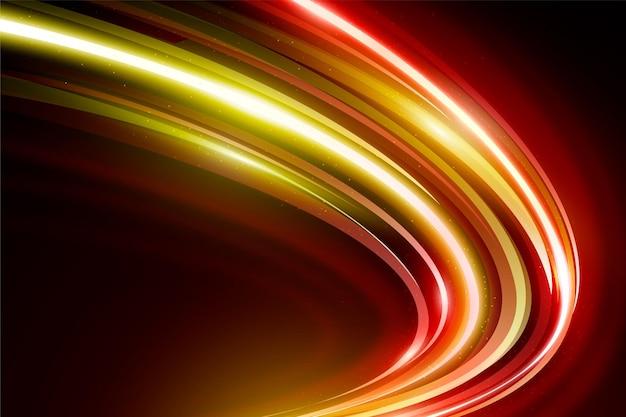 Goldene und rote geschwindigkeit neonlichter hintergrund Kostenlosen Vektoren