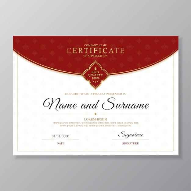 Goldene und rote zertifikat- und diplomdesignschablone Premium Vektoren