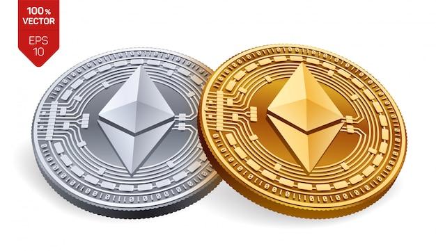 Goldene und silberne kryptowährungsmünzen mit ethereum-symbol lokalisiert auf weißem hintergrund. Premium Vektoren
