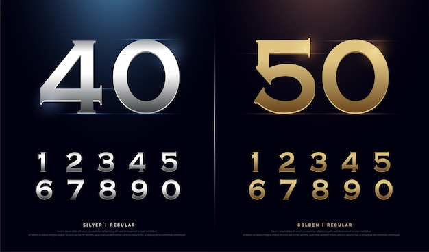 Goldene und silberne zahlen. 1, 2, 3, 4, 5, 6, 7, 8, 9, 10 Premium Vektoren
