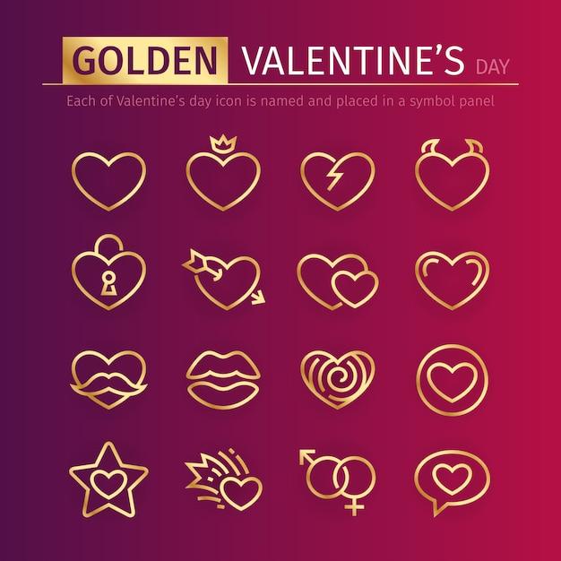 Goldene valentinsgruß-tagesikonen eingestellt Premium Vektoren