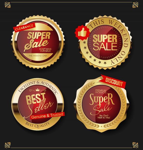 Goldene verkaufsaufkleber Premium Vektoren