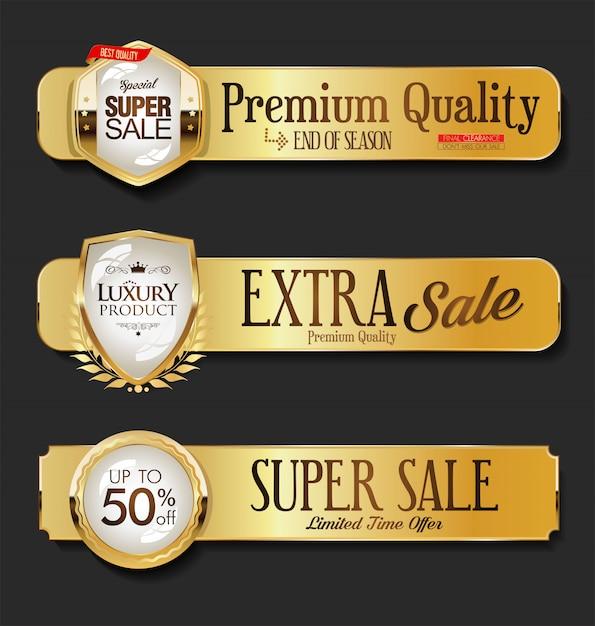 Goldene verkaufsetikettenkollektion auf schwarzem hintergrund Premium Vektoren