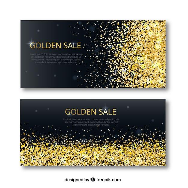 Goldene Verkaufsfahnen Kostenlose Vektoren