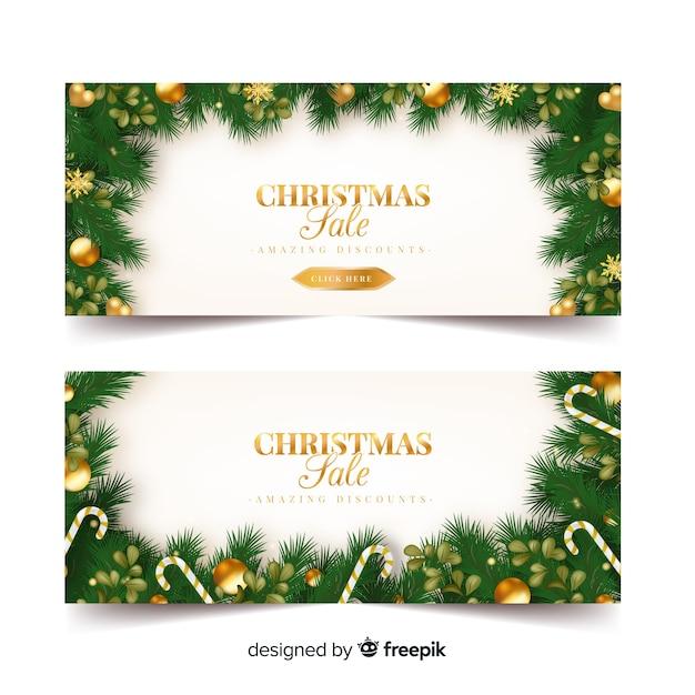 Goldene verzierungen weihnachtsverkaufsfahne Kostenlosen Vektoren